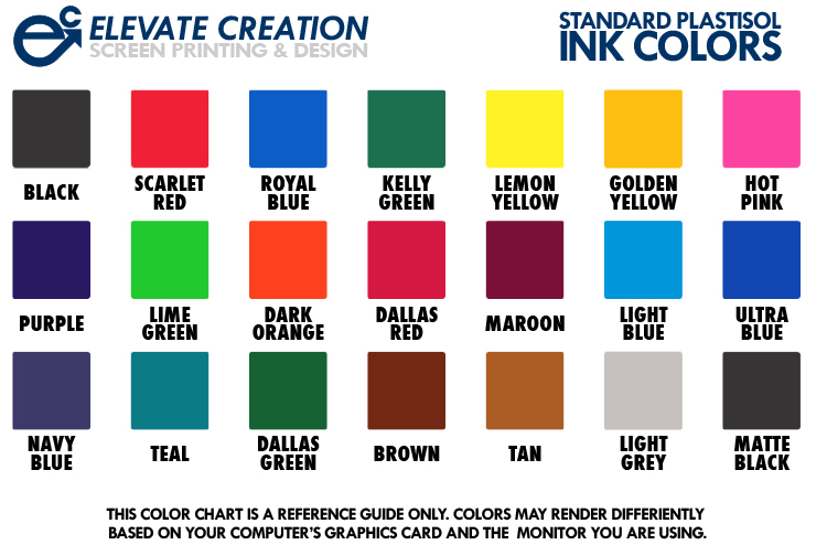 Standard Plastisol Ink Colors